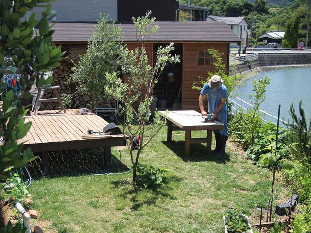 画像: ウッドデッキや小屋や薪棚など、庭にあるものはほぼすべて夫婦でDIYしています。畑に限らず庭全体に7~8割ほど食材になるものを植えていて「食べる庭」と呼んでいます。