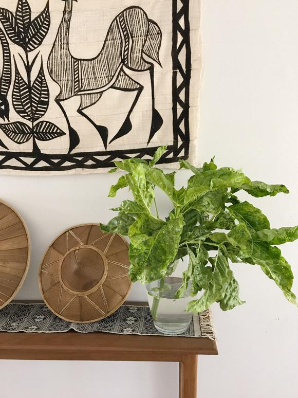 画像: 家の中にはいつも緑を飾っていました。これは庭で摘んだ大振りのグリーン。後ろのテキスタイルは日本から持っていったアフリカの布