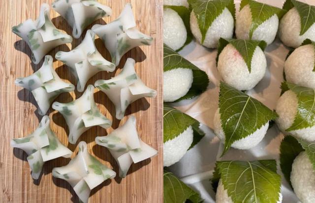 画像: 左)木の芽が香る、その名も木の芽起こし。3月、木の芽が立ち始める頃の雨を木の芽起こしという。右)いちご桜餅。いちごが透けて見えてかわいい