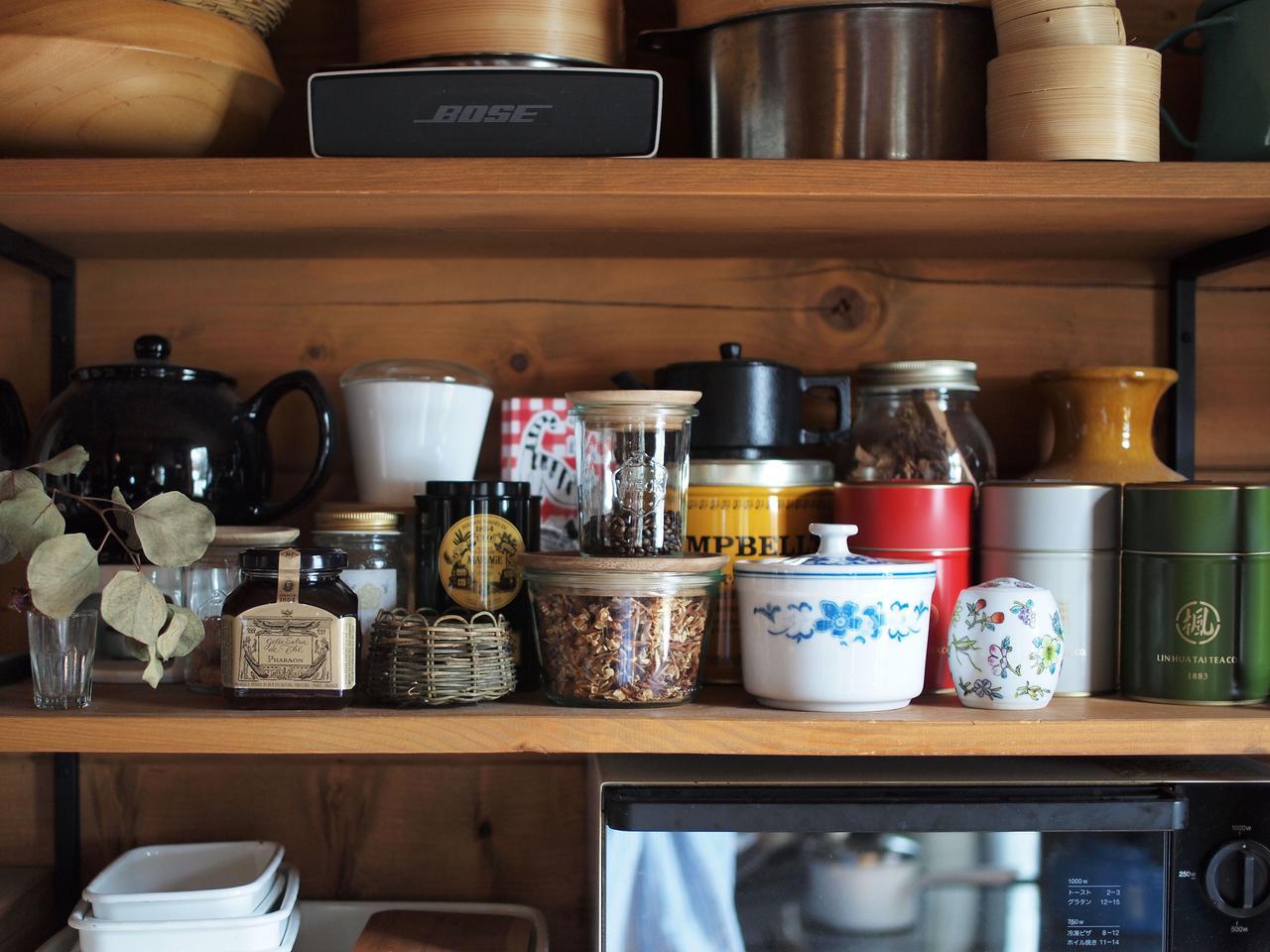 画像: お気に入りをまとめた、キッチンのお茶のコーナー
