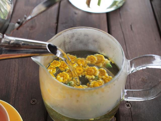 画像: 庭のテーブルにて、春菊の花茶でほっと一息