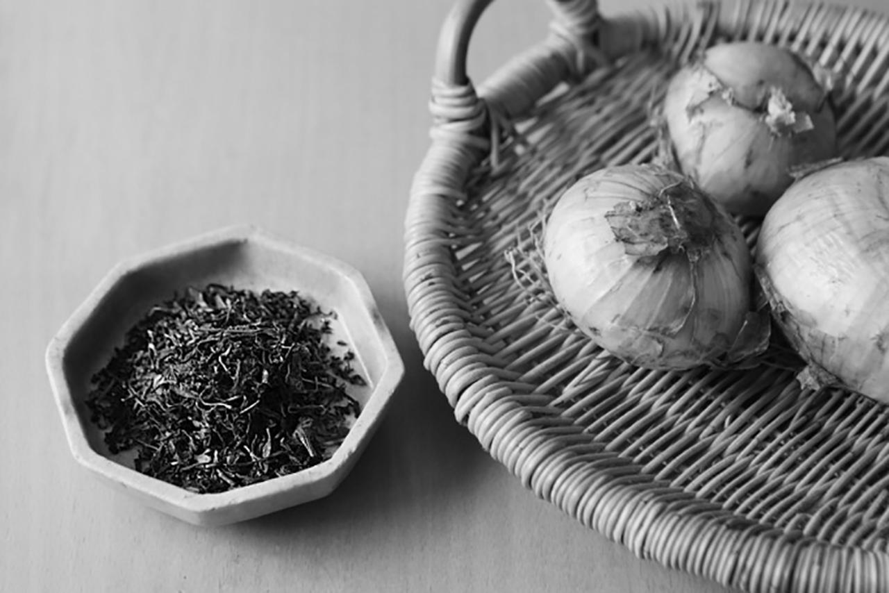 画像: 「猫楠舎」で収穫した玉ねぎとお茶。「猫楠舎」では自然体験のワークショップも