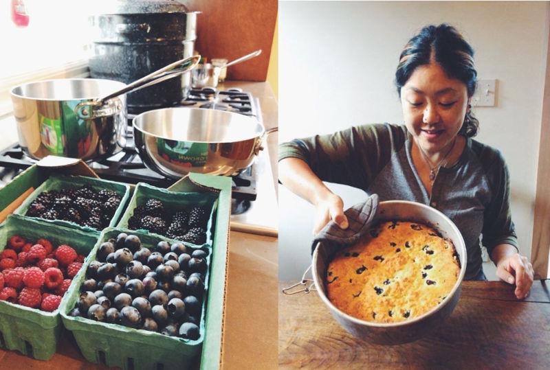 画像: アメリカを旅したときの写真。いっぱい摘んだベリーでジャム作り。お世話になったお家でお礼にパイを焼く。旅先でもつくる時間が楽しみ