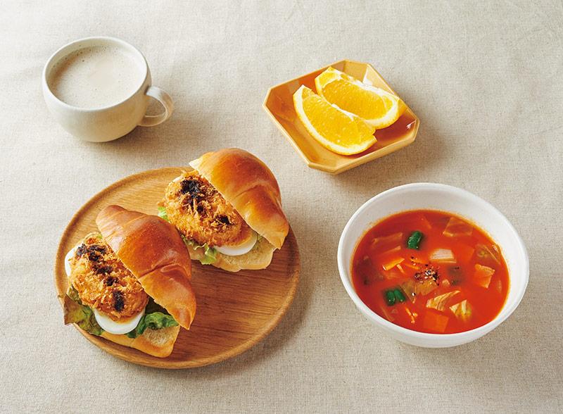 画像: 左上から時計回り:コロッケパン/ミルクティー/オレンジ/トマトスープ