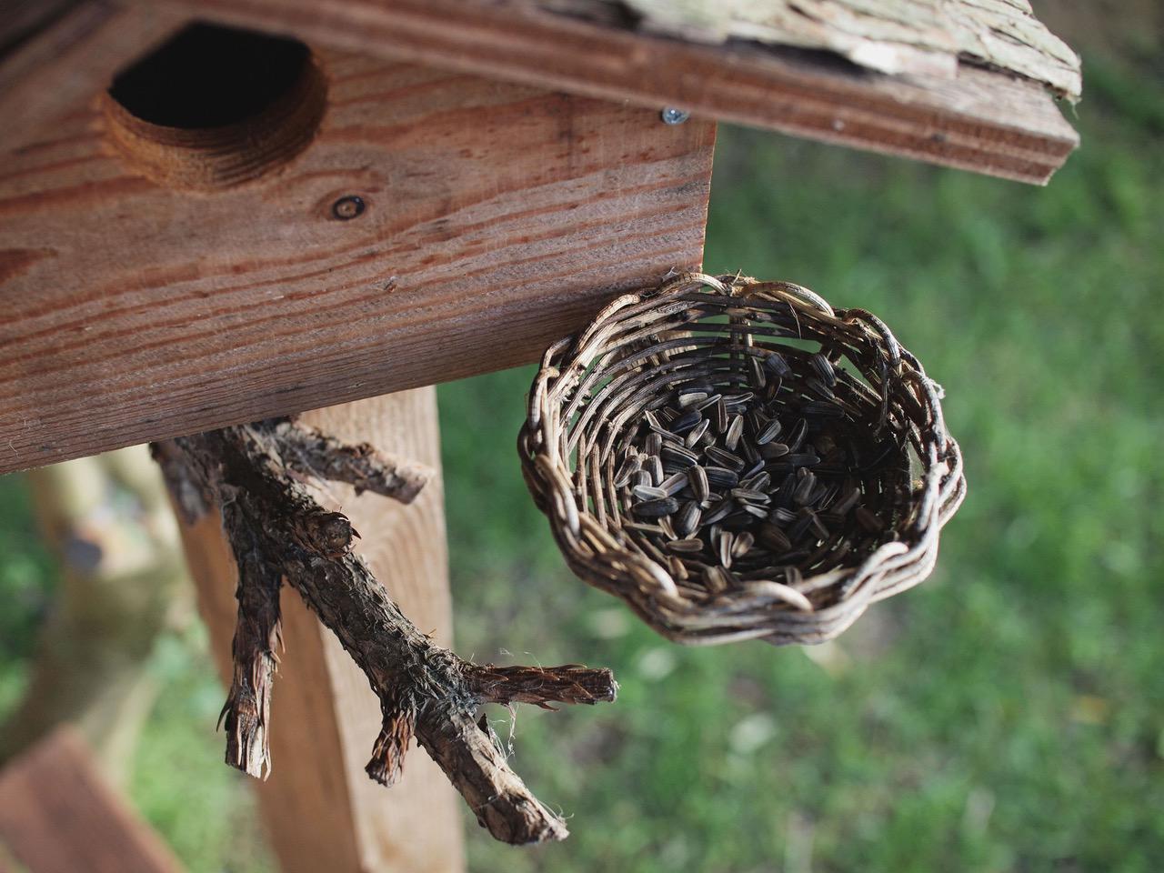 画像: アオツツラフジの蔓で編んだ、えさかご。止まり木は採取した杉の枝、屋根材には杉の樹皮を使っています