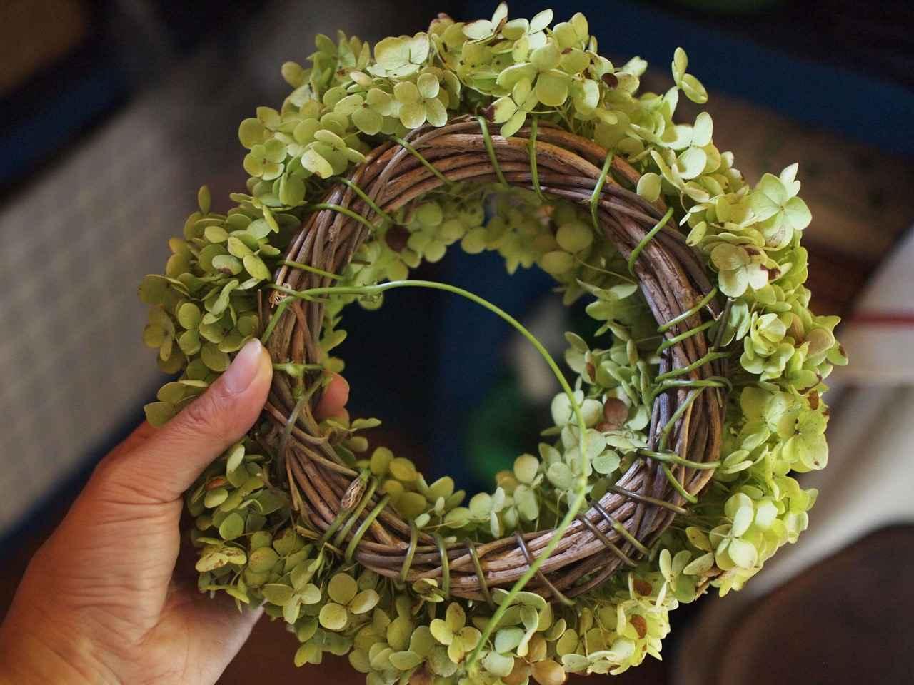 画像: リースの台座は山で採取したアケビの蔓。ワイヤーの代わりに、庭の四角豆の蔓を使ってみました