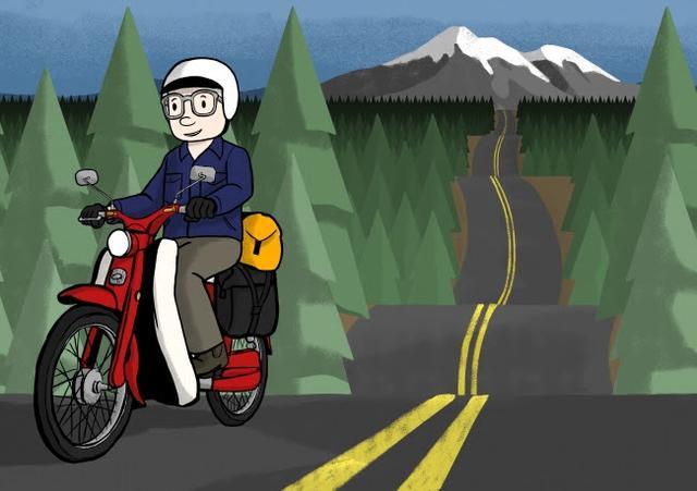 画像: コメント「カリフォルニアの美しいシャスタ山。 そこから伸びる道をカブに乗って急ぐことなくゆっくりと味わう。 その気持ち良さをイラストにしました。 」