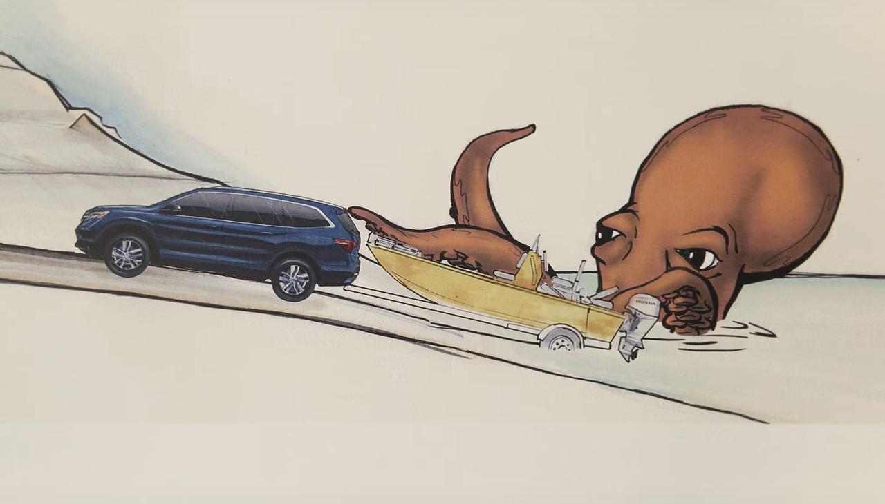 画像: タコさんに襲われる北米専用車両・パイロットとボート。ホンダは船外機もつくってますよ。
