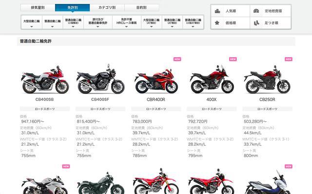 画像: ホンダのウェブサイトの「ラインアップ」では、免許別に運転できるモデルを一覧表示することができます。価格のほか、燃費とシート高がカンタンに比較できるので、バイク選びをする人にはとても親切な作りですね。また人気順、定地燃費順、価格順、足つき順でソートできるのも、ありがたい仕様と思いました。 www.honda.co.jp