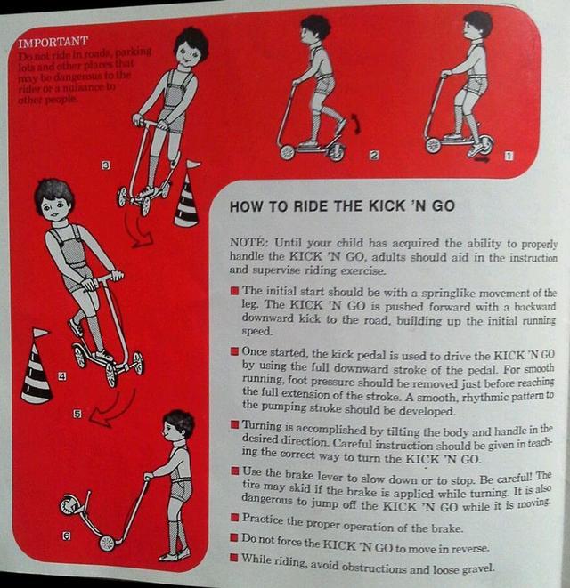 画像: 輸出用「KICK 'N GO 」のオーナーズマニュアルより。イラストが良い味を出してます。 www.oldbike.eu