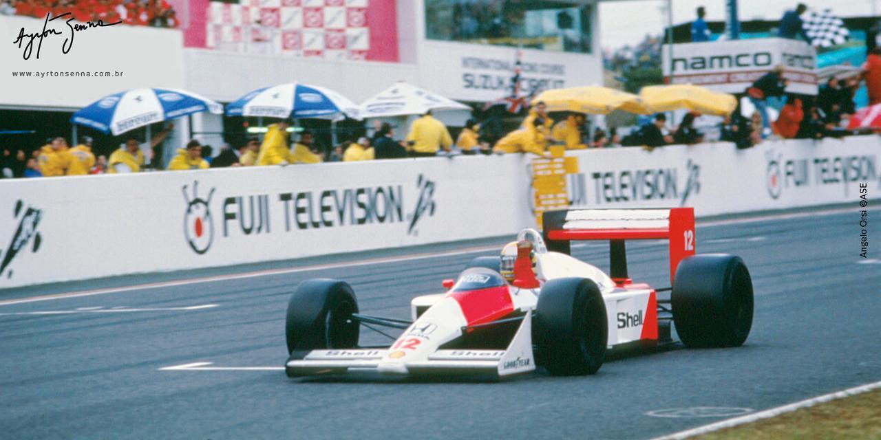 画像: 1988年の鈴鹿でのF1で優勝したA.セナ(マクラーレンホンダ)。 www.ayrtonsenna.com.br