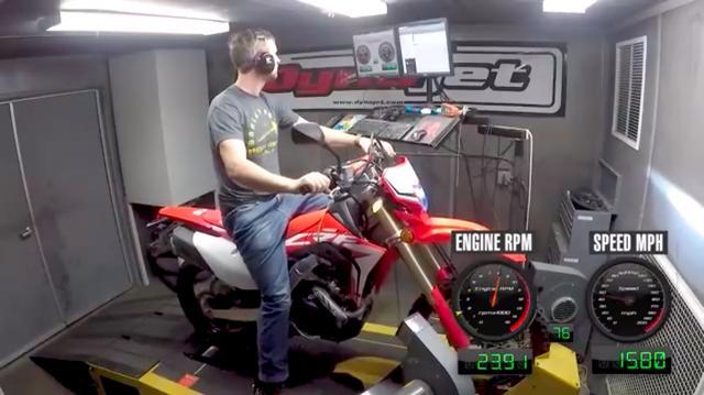 画像: 2輪車のパワーチェックではおなじみ? の装置である「ダイノジェット」で、アメリカ仕様のCRF450Lのパワーチェックが行われます! www.youtube.com