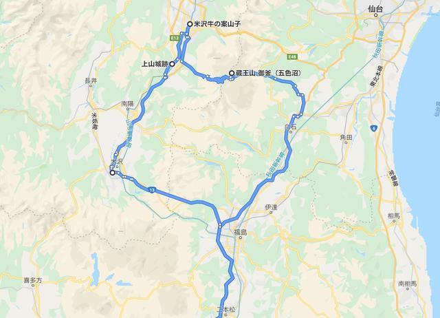 画像: 蔵王を中心にグルっと、山形県南東部を周遊する感覚。時間帯によってエコーラインの下りは混雑するので、山形側に降りることができるのは、ありがたい。©︎2019 Google