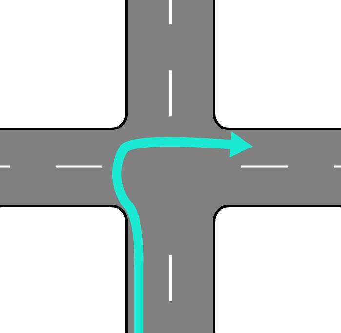 画像: 二段階右折。50cc以上のバイクやクルマは一気に右折できるのですが、原付の場合は一旦直進して停止したのち、対面の信号に合わせて左側を直進して右折を完了させる必要があります。