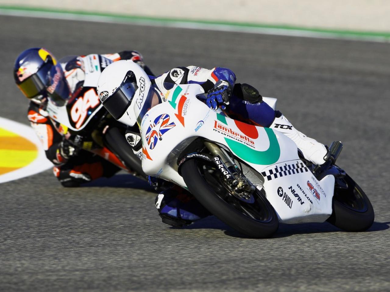 画像: 2010年のバレンシアGP125ccクラスで、ランブレッタに乗るD.ケント。 www.motogp.com