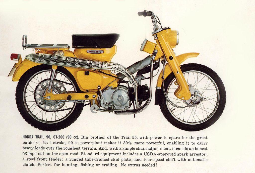 画像: 1965年カタログに掲載された、トレール90 CT200。OHV50/55ccのC100/105系では、重たいガイジンさんにはパワー不足ということで、1960年代半ばにはOHV90ccのC200/CM90系をベースとするCT200が登場します。 www.pinterest.de