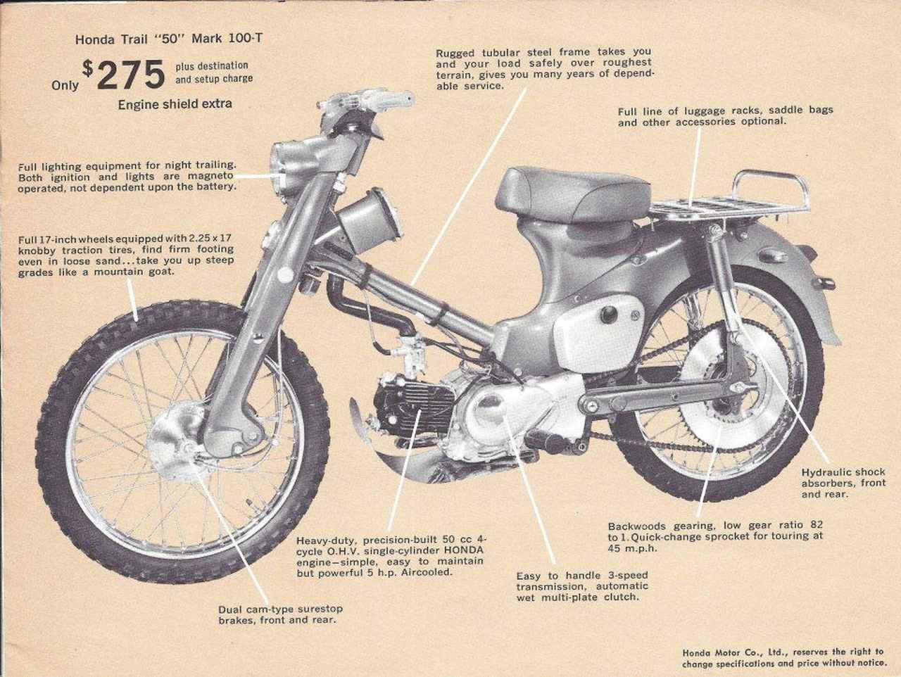 画像: 50ccのC100Tの図説。メッチャ大きいリアスプロケットに注目してください。 www.pinterest.jp