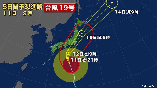 画像: 黄色の線が予報円で、赤い線が暴風警戒域。赤く塗られた丸の中心が台風の現在地で、赤丸は暴風域を、その周りの黄色区塗られた丸は強風域を表します。この赤く塗りつぶされた丸の規模で「台風の大きさ」の表現が決まります。 www3.nhk.or.jp