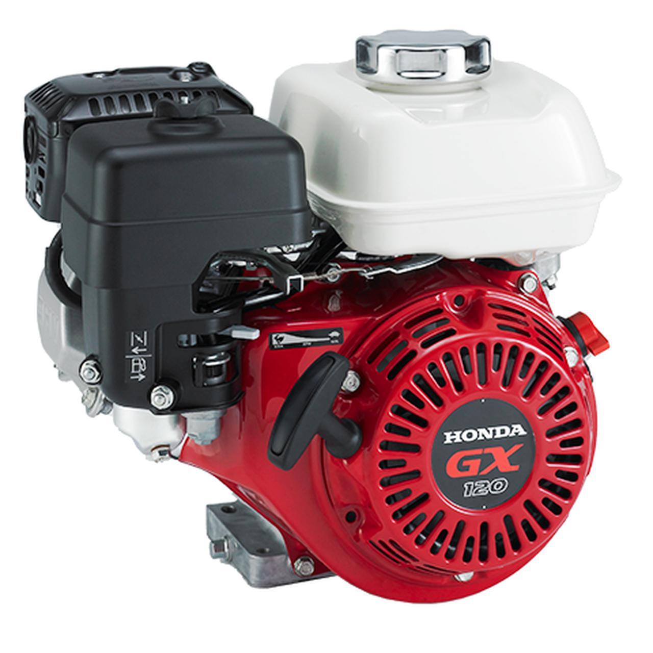 画像: ICEのホンダGX120。122ccの空冷4ストロークOHV単気筒を搭載し、定格出力2.4 kW、連続定格出力2.1 kWをともに3,600 rpmで発生します。重量は13.2 kgです。 www.honda.co.jp
