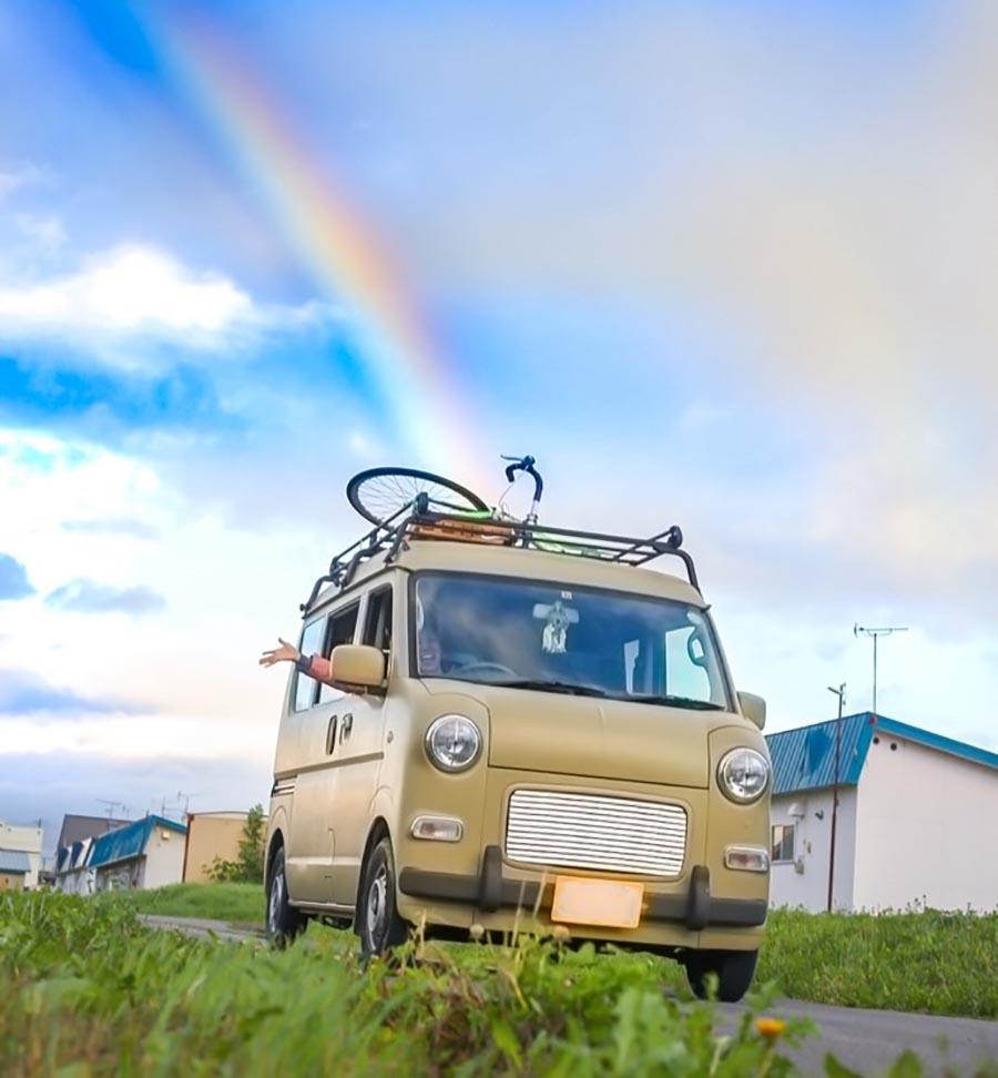 画像: 合流したhiroの自転車を載せたエブリイさん。photo by hiro
