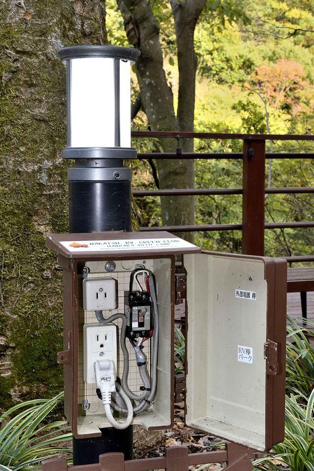 画像: RVパークは100V電源が使用可能。