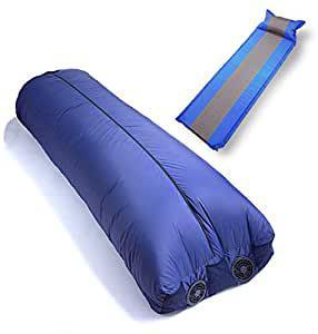 画像: Amazon.co.jp: yadocari Air寝袋 車中泊マットセット シュラフ ファン 空調 寝袋 キャンプ アウトドア デイキャンプ 扇風機 (車中泊マット(ブルー)セット): 車&バイク