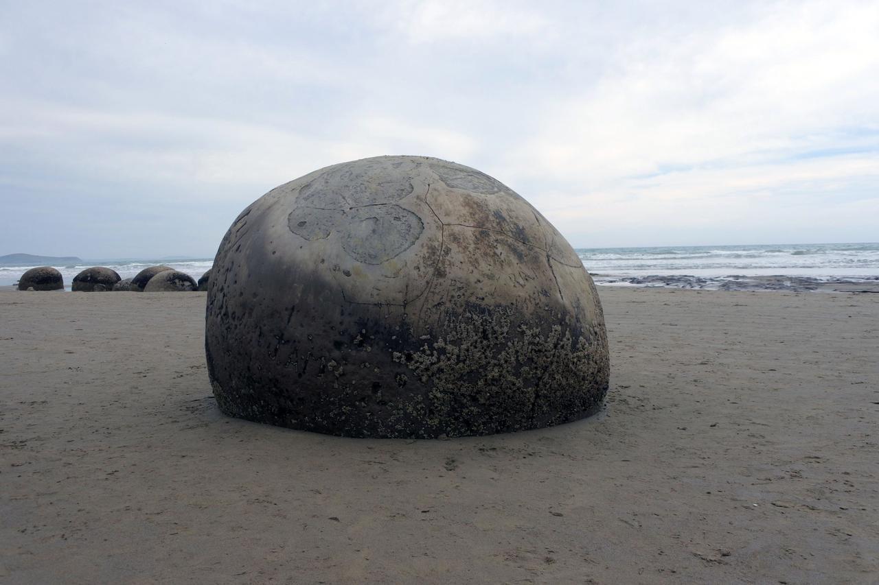 画像: モエラキ海岸には、直径2mほどの丸い石が無作為に転がっている。その昔、宇宙人がオセロゲーム(のようなもの)でもやったのだろうか?