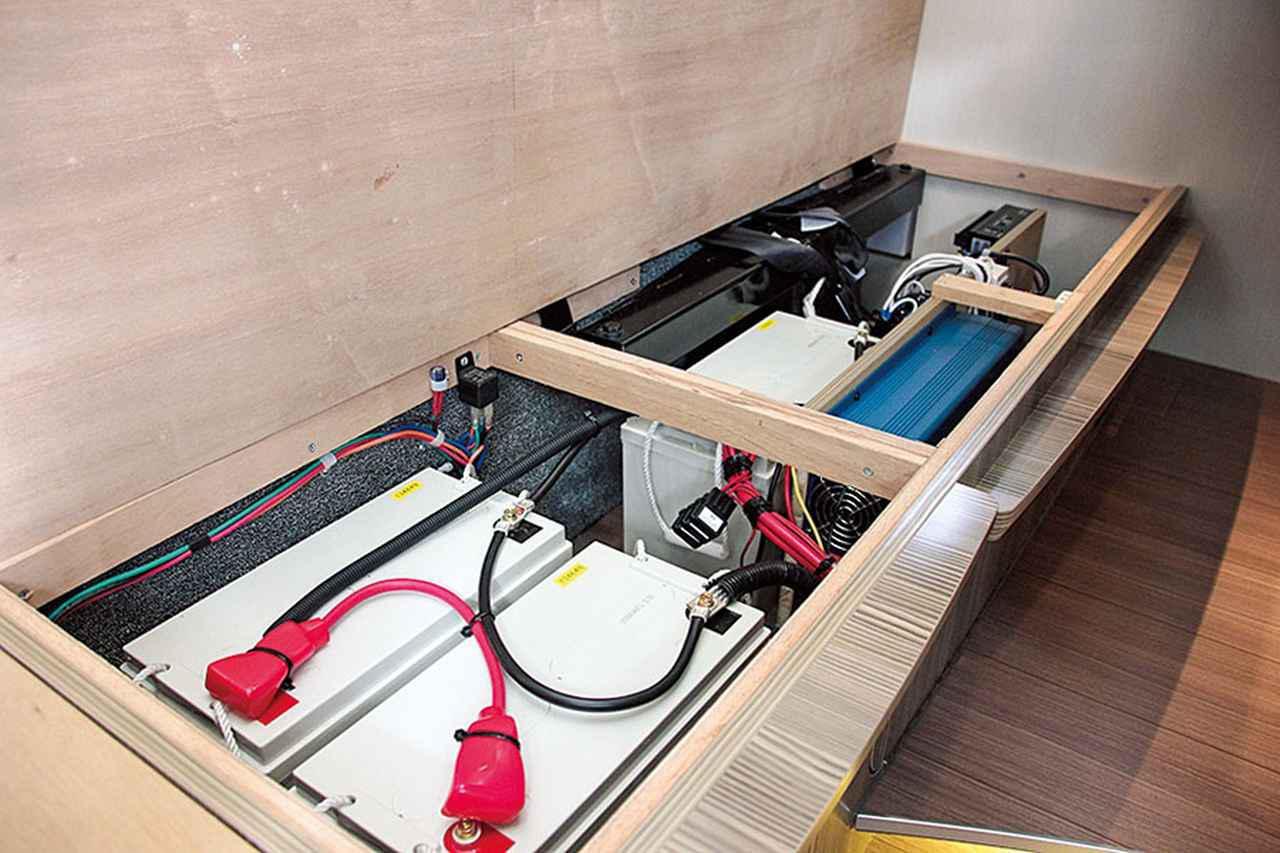画像: 据え付け型のサブバッテリーになると、キャブコンやバンコンなど中・大型のキャンピングカーに搭載され、バッテリー自体も大型化した商品が主流。その分、パワーのある家庭用のエアコンなどが使える。