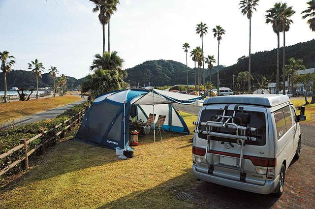 画像: 宮崎県の日南海岸にある宮崎白浜オートキャンプ場。ここは年末年始も営業している希少な高規格オートサイトで、温泉もすぐ近くにある。