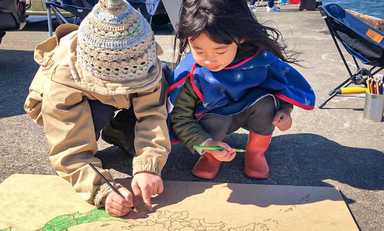 画像: 港で海釣り、それから静岡県のピースをお友だちと一緒に塗ったよ。