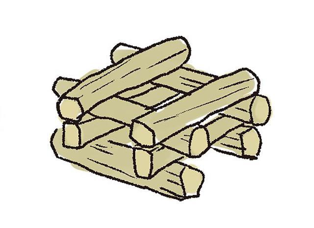 画像2: 2 薪を組む。