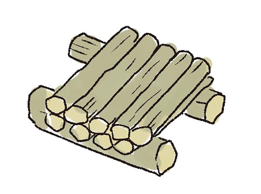 画像3: 2 薪を組む。