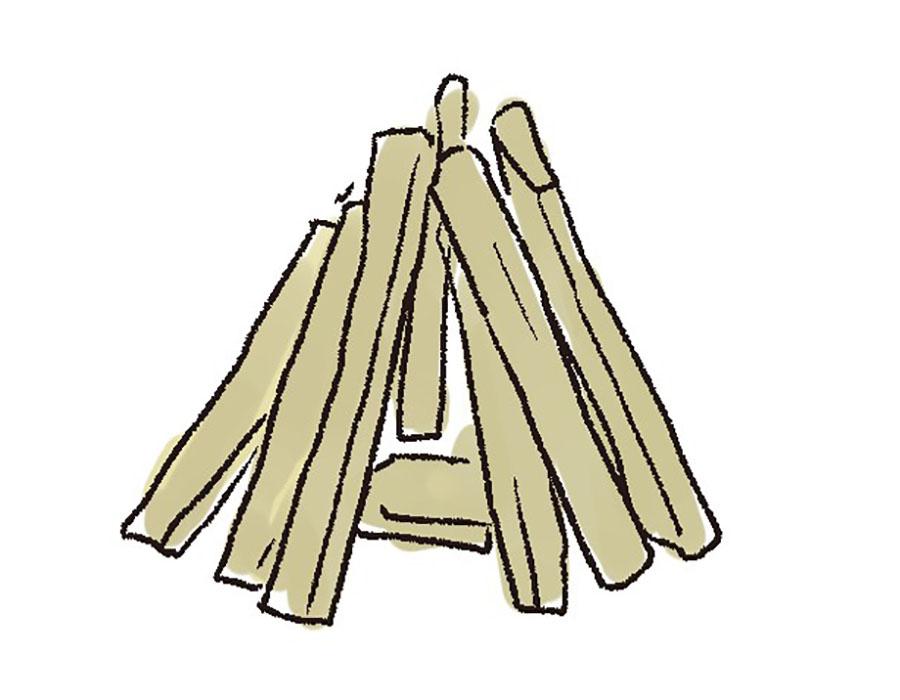 画像1: 2 薪を組む。