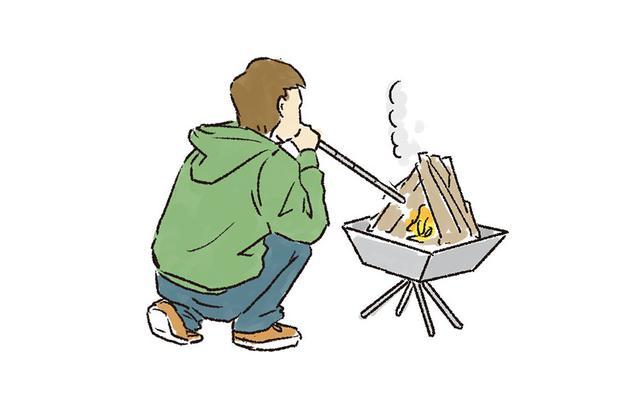 画像: 3  着火し、火がまわったら風を送る