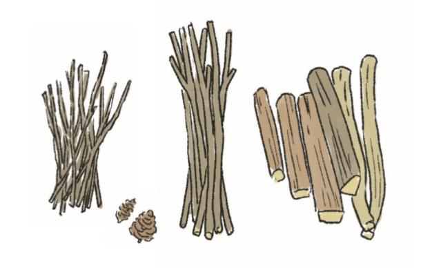 画像: 1 太さの違う薪を用意する