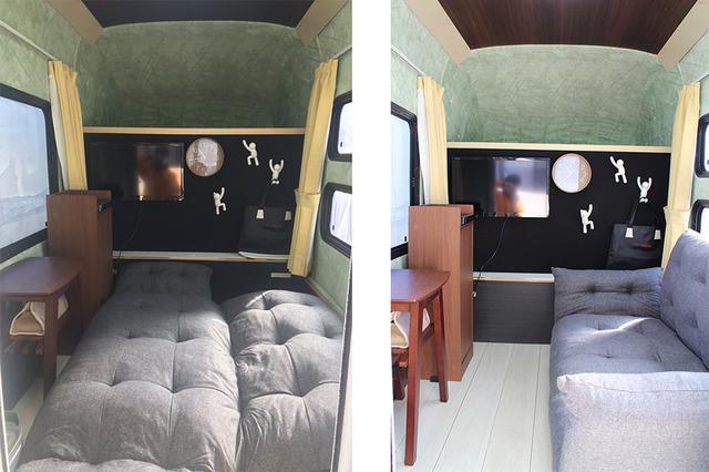 画像: 車内は自分の好きなように使える。写真のようにソファベッドを持ち込んで優雅な車中泊空間を作り出すなどアイデア次第。最近話題のワーケーションや移動販売車としても使うこともできる。