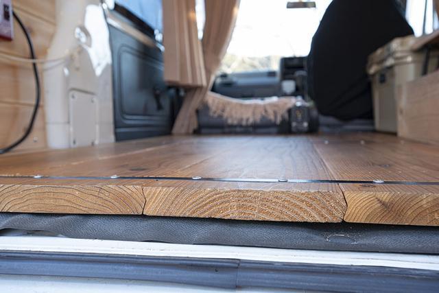 画像: フロアはカフェ杉という厚い板を置いてあるだけ。床の凸凹を修正するのが面倒だったので、厚い板を使うことにした。