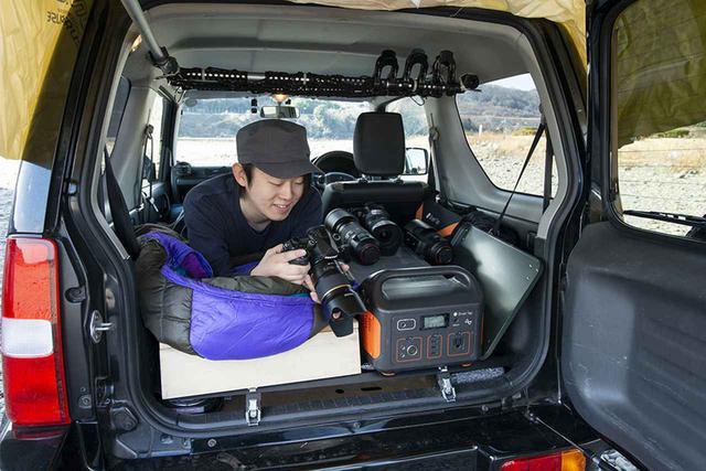 画像3: べニア板+登山用マット&寝袋