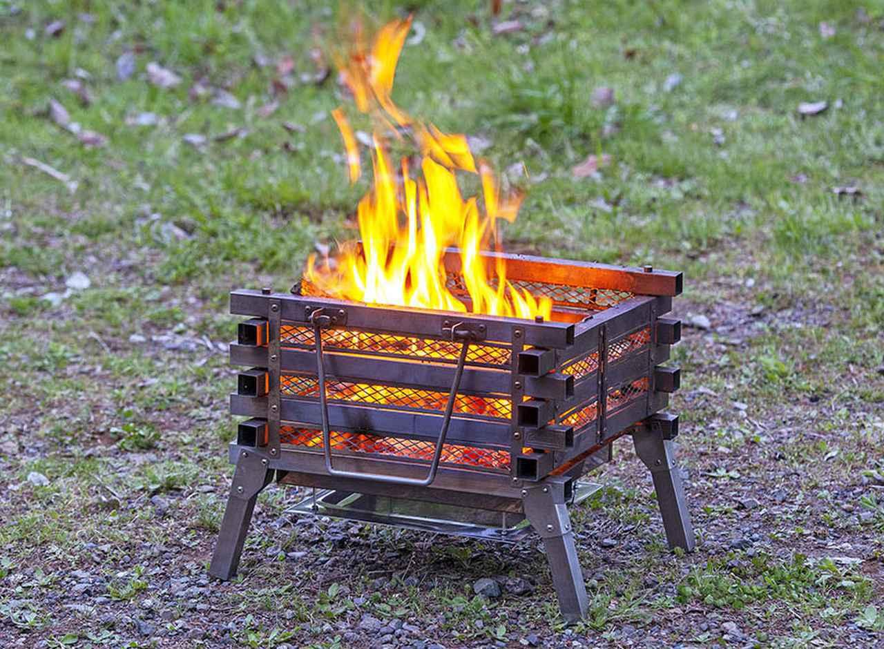 画像: ポイント3 メッシュ枠から見える焚き火の炎が美しい