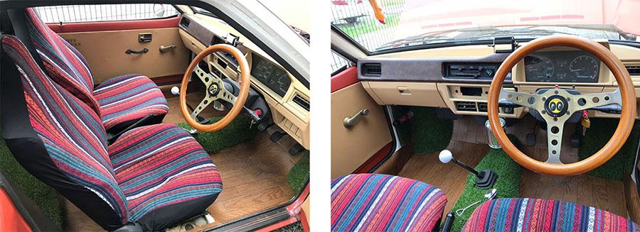 画像: 明るい色のシートカバーとフローリングシートを採用して、がらりと印象をチェンジ。ダッシュボードはもともとプラスチック製なので、缶のカラースプレーで十分塗装可能。