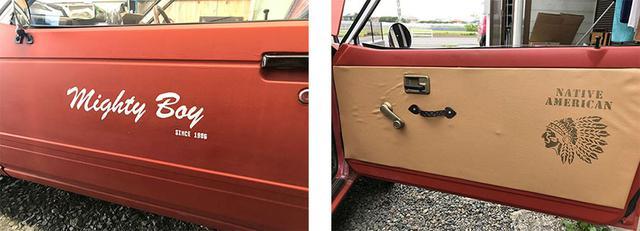 画像: サイドの車名はデザイナーの友人による手書き。ドアの内張りも、ダッシュボードと同じ雰囲気の合皮を使用して、ぐっと締めた。
