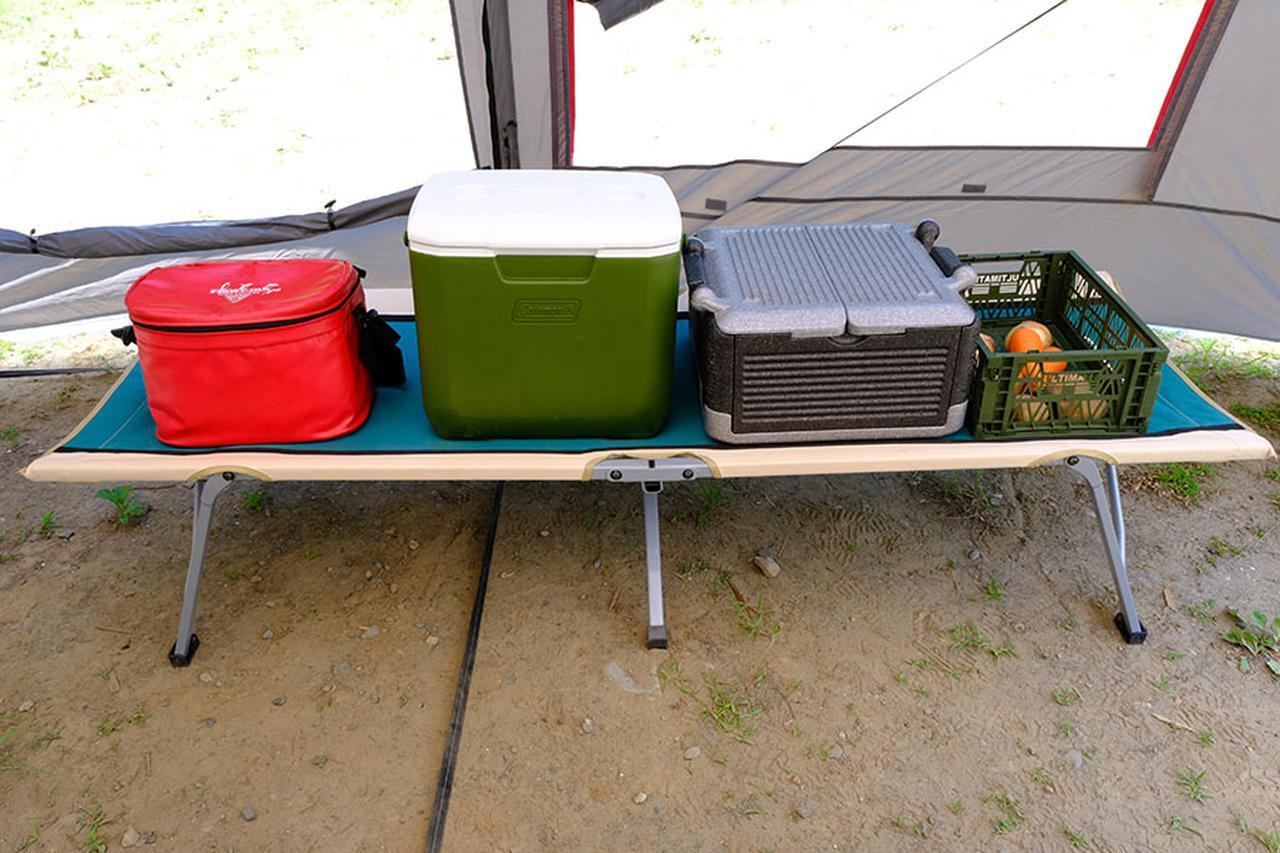 画像: 左から①ソフトクーラー、②ハードクーラー、③発泡スチロール箱、④バスケット
