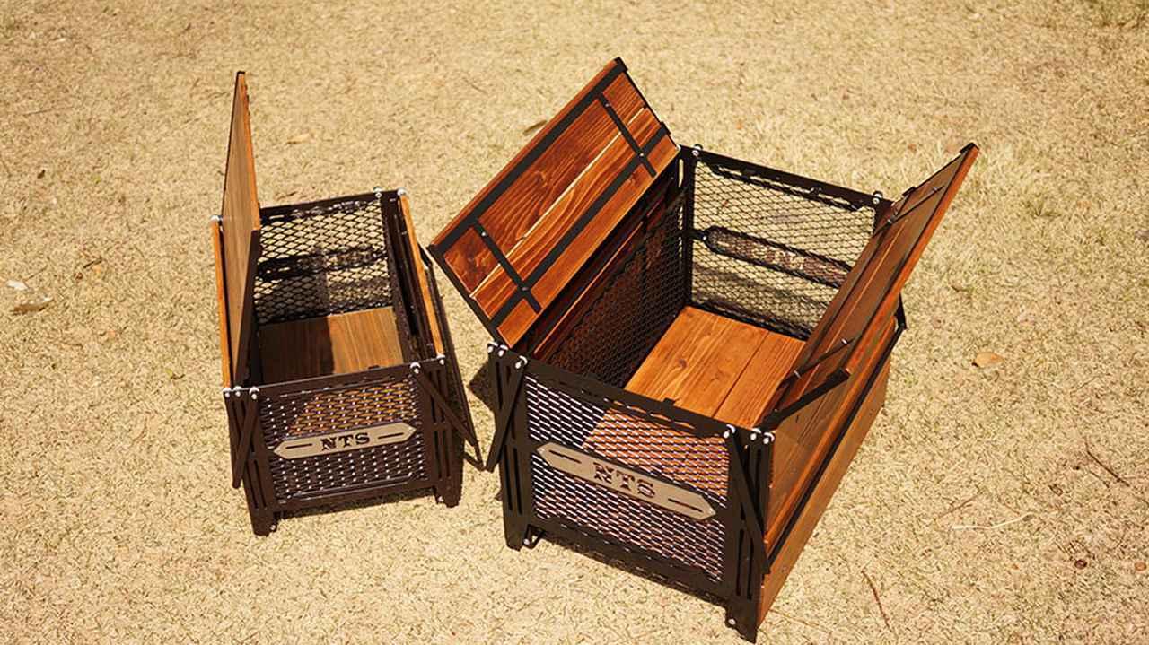 画像: ボックス上部の天板が開くので、テーブル展開していても荷物の出し入れがスムーズ。