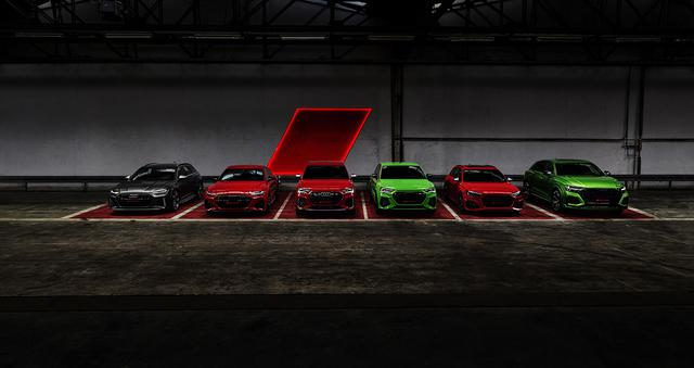 画像: 左から、Audi RS 6 Avant、Audi RS 7 Sportback、Audi RS Q3、Audi RS Q3 Sportback、Audi RS 4 Avant、Audi RS Q8。