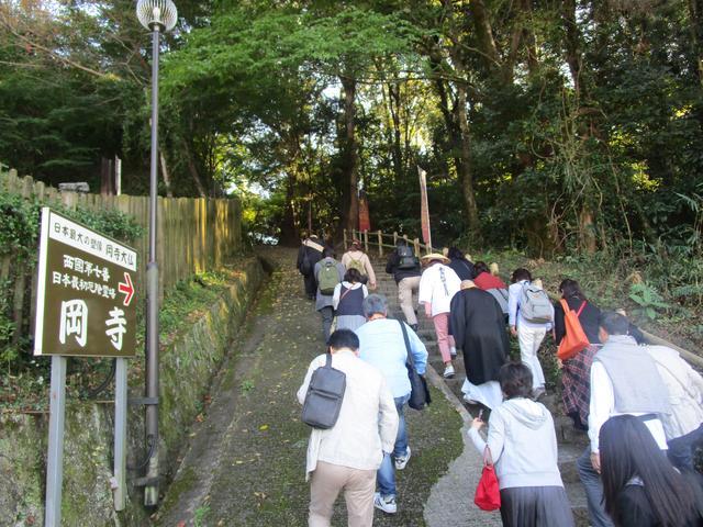 画像: 駐車場からほんの少しだけ急な坂をのぼり、岡寺の入口へ。森さんが先導してくれました。