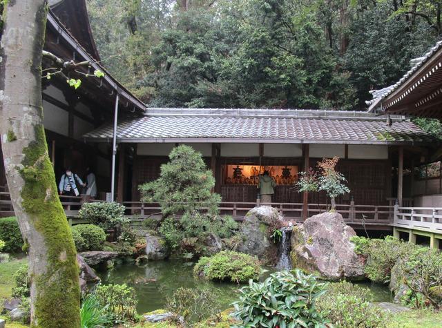 画像: こちらが芭蕉の池。「古池や 蛙飛びこむ 水の音」の句が聞こえてきそうです。池の奥が観音堂です
