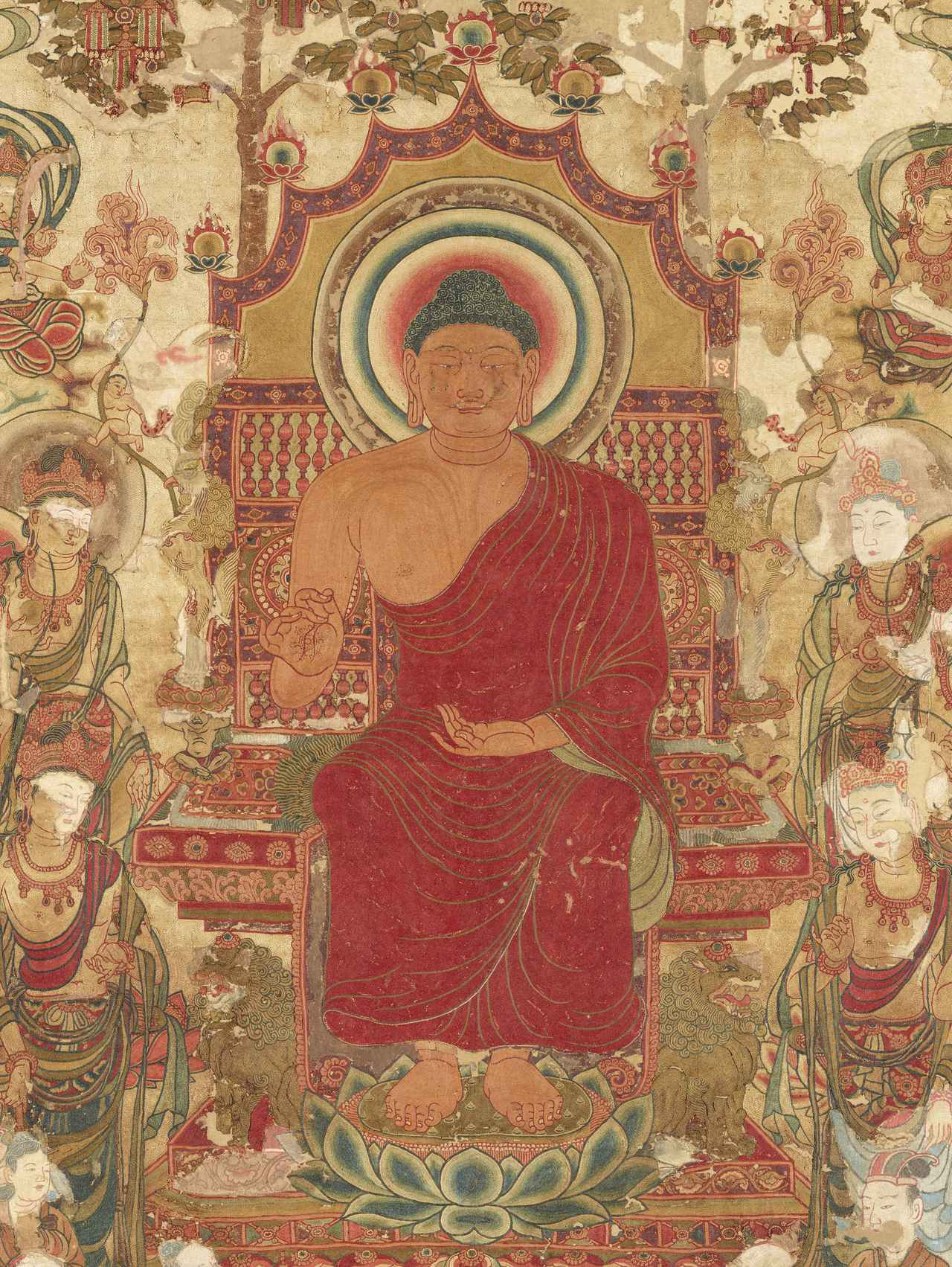 画像: 国宝 刺繡釈迦如来説法図(部分) 飛鳥時代または唐時代(8世紀) 前期