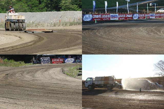 画像: FEVHOTSレース開催日のトラック整備は豊富な経験を持つ専任クルーによって行われる。トラックごとの土質の特徴、当日の気温・湿度・日没予定時刻までをも加味し、撒水や平滑化を適宜繰り返すことで、クオリティの高い=安全な路面を決勝レースまでに参加者とともに作り上げていく。撮影: 齊藤淳一(Flattrack Express)