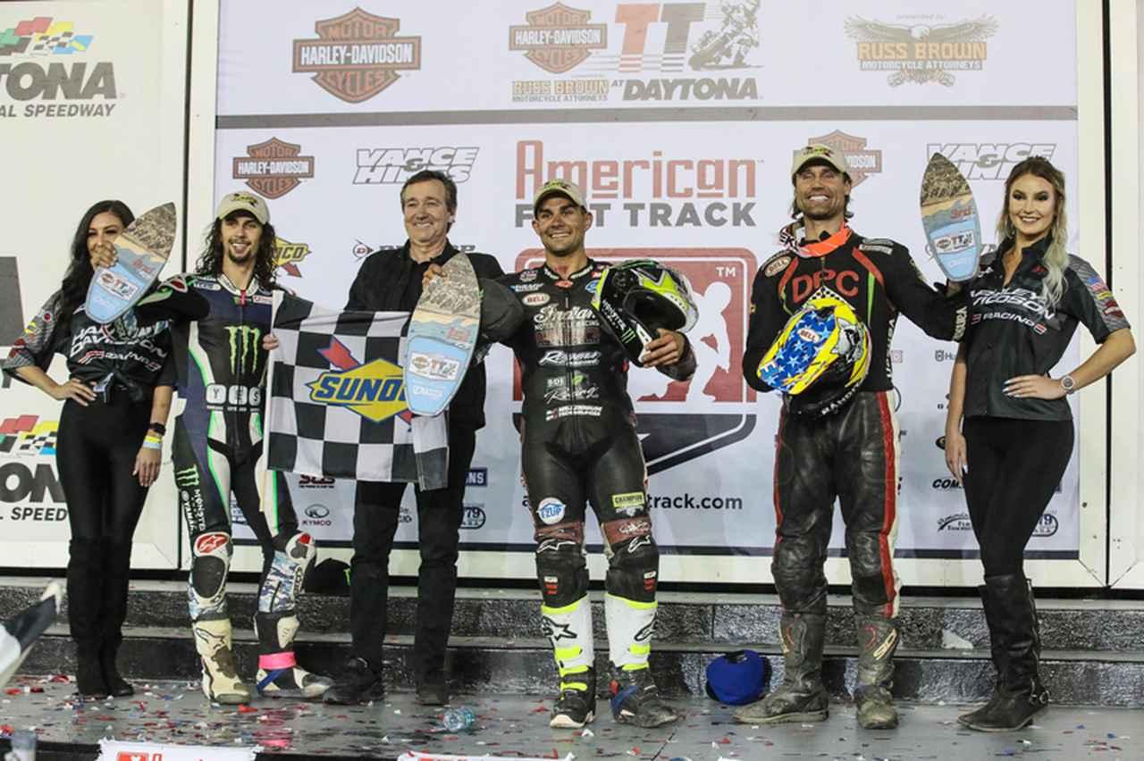 画像: 本戦デイトナTTのグランドマーシャルは左から3人目、元ダートトラッカーでもあるフレディ・スペンサー氏。 www.americanflattrack.com