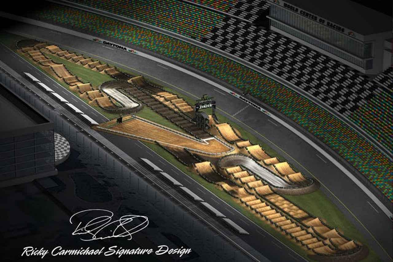 """画像: MXレジェンド: リッキー・カーマイケルによってデザインされた2018スーパークロスのトラックレイアウト。トライオーバルのインフィールド芝生エリアに660トンのダートを運び込み、3月10日夜に行われたこのレースからわずか5日後、まったく同じ場所を完全にフラットに再整備してAFT開幕戦 """"デイトナTT"""" が開催された。 racerxonline.com"""